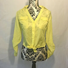 NWT Candie's Juniors Women's Blouse Size XS Sheer Yellow Long Sleeve Lace Top
