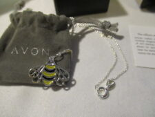 """AVON  Sterling Silver Spring Inspirations Necklace 19"""" L BEE with a CZ Eye"""