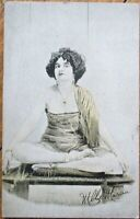 Risque 1920 Postcard: Woman/Mlle. Marcia Sitting w/Crossed Legs