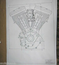 HARLEY DAVIDSON 80ci EVOLUTION Engine BLUEPRINT HD poster print motorcycle Evo