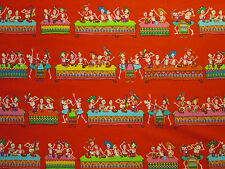 SKULLS DAY OF THE DEAD FIESTA RED COTTON FABRIC BTHY