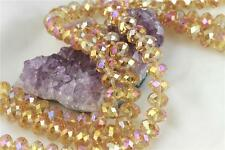 36 pcs 12mm Chinese Crystal Glass Beads Faceted Rondelle Citrine Quartz AB