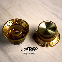 2 Boutons Dores METRIC 18S Gold Gibson Style TopHat Knobs Tone Gold ReflectorCap