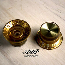 2 BOUTONS DORES inchSize GOLD GIBSON Style TopHat KNOBS TONE Gold Reflector Cap