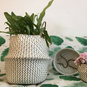 Foldable Seagrass Belly Basket Wicker Flower Plant Home Decor Storage Basket*