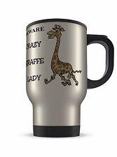 14oz Crazy Giraffa Lady Novità Novità Regalo Tazza da viaggio in alluminio