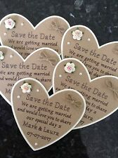 5 Save The Date Wedding Magnets. Rustic Vintage Personalised Heart Shaped Cards