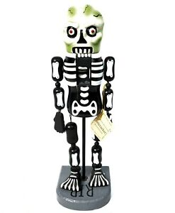 Skeleton Nutcracker Halloween Jointed Wood Day of the Dead RIP 2010 Xmas NOS