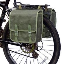 1980s Army Surplus Green Canvas Pannier Bags showerproof bike retro vintage NOS