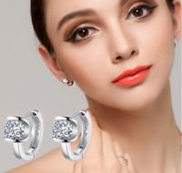 925 Silber Creolen Kreolen Klapp Ohrstecker Ohrringe Zirkonia Diamant Solitär