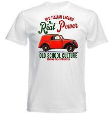 AUTO D'EPOCA ITALIANA FIAT 500 A Real Power-Nuova T-shirt di cotone