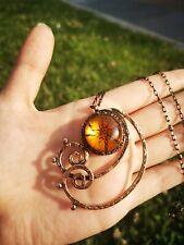 Handmade Stunning Sun Murano Glass Statement Pendant Necklace Rustic Jewelry Art