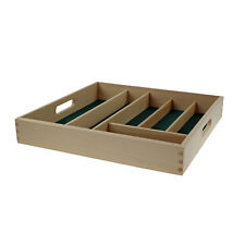 Wood 6 Compartment Cutlery Tray Kitchen Utensil Rack Organiser Drawer Storage
