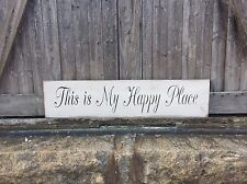 "Large Rustic Wood Sign - ""This is my Happy Place"" - 3 1/2 Feet Long! Home Sweet"