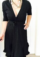 LEONA EDMISTON FROCKS DRESS WOOL FROM NZ, MADE IN AU WORK PARTY SZ XS