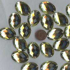 PC36 *** 15 pierres à coudre à facettes acrylique ovales 25x18mm -  JAUNE