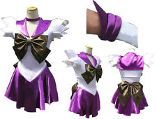 Sailor Moon Sailormoon Saturn Tomoe Hotaru Cosplay Costume with Glove and Tiara