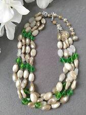 Vintage JAPAN Multi Strand Plastic Glass Bead Choker Necklace