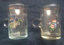 Set of 2 Clear Glass Flower Motif Mugs Tea Coffee Hot Drinks Cups