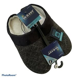 Isotoner Gray Enhanced Heel Hoodback Slippers Size Large 8.5 - 9