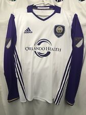 Adidas MLS Orlando City SC Authentic White Home L/S Soccer Jersey Mens Size M