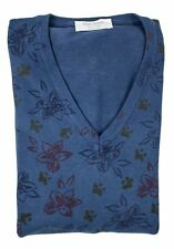 GRAN SASSO Italy Blue Printed Floral Cotton V-Neck Sweater Shirt 50 M S NWT $345