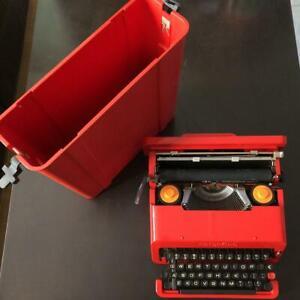 Olivetti Valentine Typewriter w/ Case Red RARE Vintage work Tested Fedex Boxed