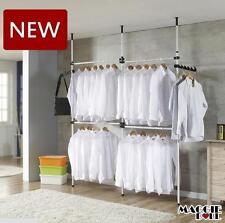 Hanger Clothes Wardrobe Movable Rack Adjustable ToolsFree DIY Coat 3 Poles 4 bar