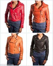 Lamb Patternless Biker Jackets for Women