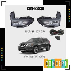 For 2017-2018 Nissan Rogue S, SL, SV Fog Lights Lamp and Assembly Set L&R Side