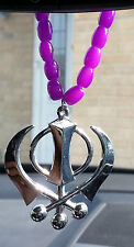 Silver Plated Punjabi Sikh Large Khanda Pendant Car Hanging in Purple Beads