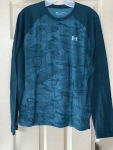NWT Under Armour Boy's XL Halftone Ridge Reaper Raglan Long Sleeve Blue T-shirt