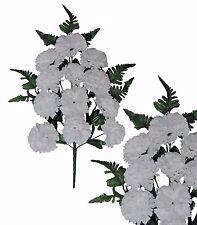 "White 12-Carnation Poly Silk Flower 20"" Bouquet Spray Arrangement Home Decor"