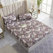 KIng Size Fitted Bed Sheets Set Waterproof Deep Pockets Spandex Floral Sheets