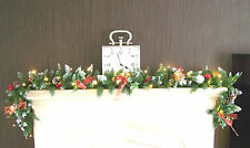 Luxury 1.8m Frosted Christmas Garland Swag Red Toadstools bows Apples B. LIT 6ft