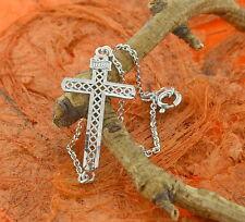 Side Cross Chain Bracelet -Sterling Silver- Latin Cross,Religious,Ladies,Gift