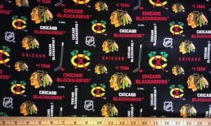 "NEW NHL CHICAGO BLACKHAWKS COTTON Fabric 1/4 yard=9""x44"" BLACK YELLOW DIY MASK"