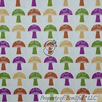 BonEful Fabric FQ Cotton Quilt White Green Purple Brown Kitchen Mushroom Stripe