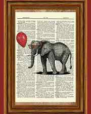 Elephant Red Balloon Glasses Dictionary Curious Art Print Poster Picture Book