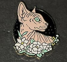 Sphynx Cat Floral Pin Broach Button #LCPS