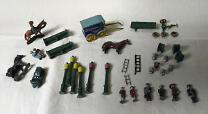 Lot of vintage HO scale painted metal figures, horses lampposts people benches