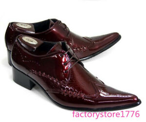 Mens Patent Leather Lace Up Pointed Toe Wing Tip Carved Snakeskin Dress Shoes sz