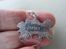 Charm Island Travel Fob Pendant Old Antique Vintage Sterling Silver Jersey Map
