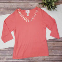 Quacker Factory Coral Pink 3/4 Sleeve V Neck Knit Sweater Sequins Cotton Medium