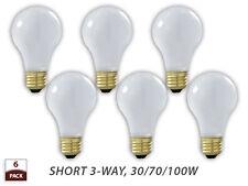 6 PK Short 3-Way Light Bulb Soft White 30/70/100-Watt A19 130V