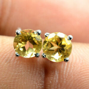 6mm Round Cut Natural Yellow Citrine Gem 925 Solid Silver Awesome Earring Stud