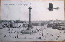 1912 French Aviation Postcard: Airplane Bleriot at Bastille, Paris - France