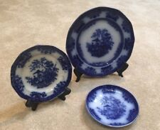 "3 antique flow blue Plates Davenport Amoy 9.25"", 6.25"" And 6"" Saucer"