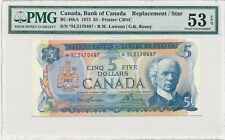 BANK OF CANADA Replacement 5 Dollars 1972 BC-48bA - PMG 53 ABOUT UNC EPQ