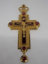 Orthodox Pectoral cross with red enamel Gold Plated Engolpion Pendant Bishop